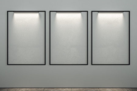 Empty illuminated posters in modern interior. Mock up, 3D Rendering