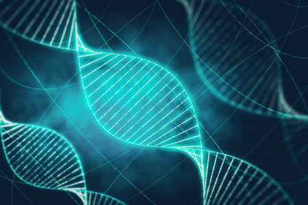 Creative glowing DNA background with lines. Medicine, ai and future concept. 3D Rendering