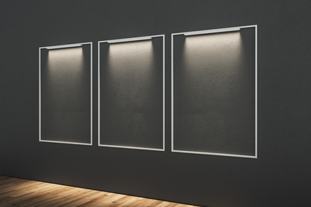 Blank illuminated posters in modern interior. Mock up, 3D Rendering