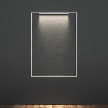 Blank illuminated billboard in modern interior. Mock up, 3D Rendering