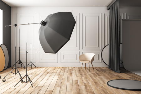 Clean concrete photo studio interior with professional equipment. Photography and design concept. 3D Rendering
