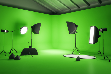 Modern green photo studio interior with professional equipment. Photography and design concept. 3D Rendering Stok Fotoğraf