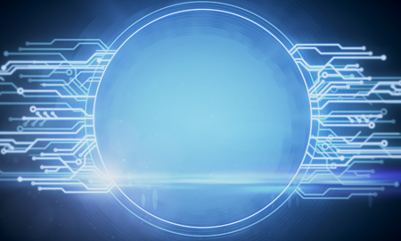 Glowing circuit banner background. Mock up, 3D Rendering