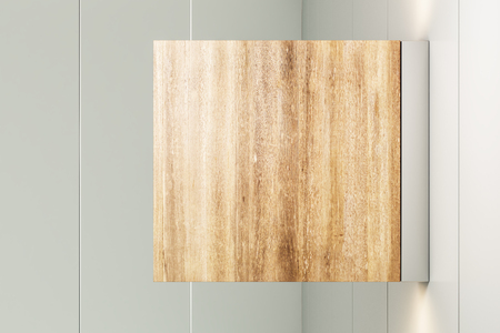 Blank square wooden stopper on light background. Mock up, 3D Rendering