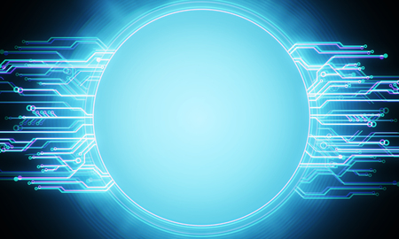 Glowing circuit banner backdrop. Mock up, 3D Rendering Banco de Imagens