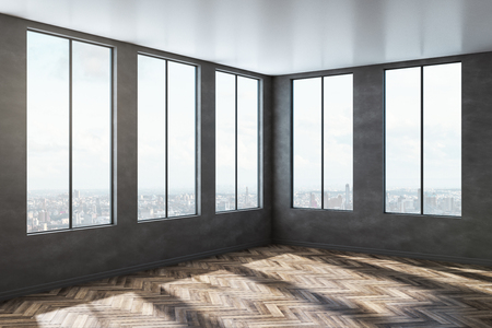 Empty concrete office interior with wooden floor, city view and sunlight. 3D Rendering