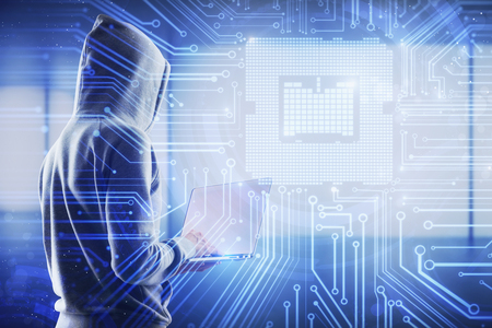 Hardware and hacking concept. Hacker using laptop with circuit interface on blurry blue office background. Double exposure