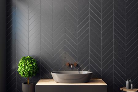 Interior de baño negro moderno con árbol decorativo, lavabo, luz solar y espacio de copia. Representación 3D