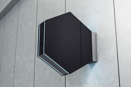 Empty square shiny black poster on light background. Mock up, 3D Rendering