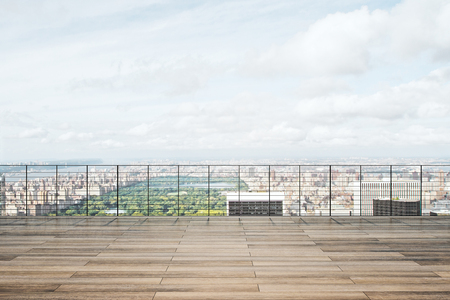 Wooden rooftop with panoramic city and sky view. 3D Rendering Stock Photo