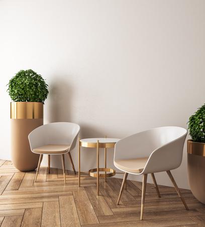 Interior de la sala luminosa con maceta decorativa, muebles y espacio de copia en la pared. Mock up, representación 3D