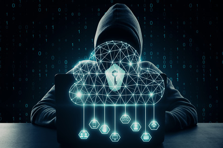 Hacker using laptop with digital polygonal cloud and binary code. Cloud computing and criminal concept. Double exposure
