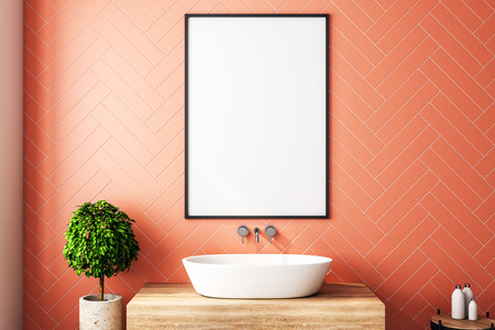 Modern orange bathroom interior with decorative tree, sink, sunlight and empty poster. 3D Rendering