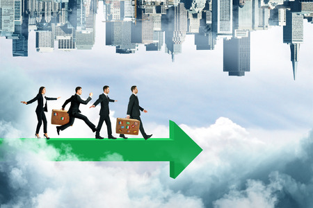 Businesspeople walking on green arrow on abstract sky background with clouds and upside-down city skyline. Growth and teamwork concept