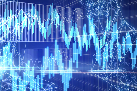 Creative glowing blue forex chart grid background. Finance and invest concept. 3D Rendering
