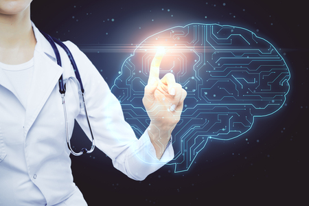 Female doctor hand using glowing circuit brain interface on blurry background. AI and medicine concept. Double exposure