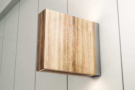 Empty square wooden stopper on light background. Mock up, 3D Rendering