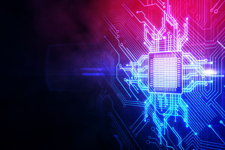 Creative circuit chip wallpaper. AI and computing concept. 3D Rendering
