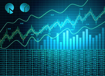 Creative blue forex chart wallpaper with candlestick line. Invest and trade concept. 3D Rendering Standard-Bild - 118913628