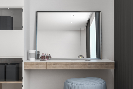 Dressing table with mirror in modern interior. Design concept. 3D Rendering Stock Photo