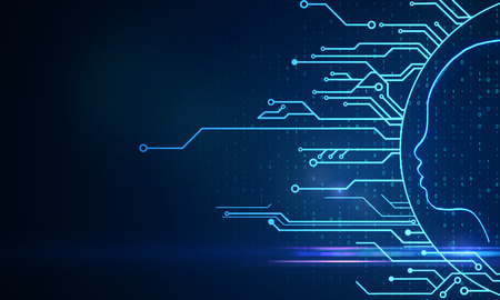 Digital circuit head on blue background with binary code. AI and technology concept. 3D Rendering