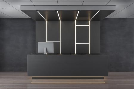 Reception desk in modern lobby interior. 3D Rendering Archivio Fotografico - 118913675