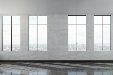 Modern concrete office interior with city view and sunlight. 3D Rendering