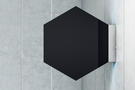 Empty rhombus shiny black stopper on light background. Mock up, 3D Rendering Stock Photo
