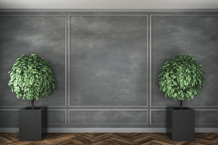 Modern concrete interior with decorative trees, wooden floor and copyspace on wall. Mock up, 3D Rendering