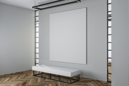 Contemporary exhibition hall interior with empty white billboard ster on concrete wall, wooden floor, city view and daylight. Gallery concept. Mock up, 3D Rendering