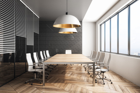 Stylish conference room interior with city view and daylight. Workplace design concept. 3D Rendering Imagens