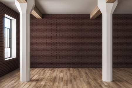 Clean wooden, brick and concrete interior with copyspace on wall, city view and daylight. Mock up, 3D Rendering Banque d'images