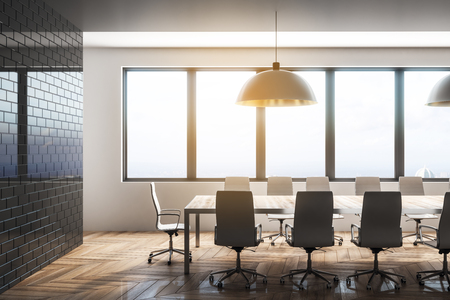 Bright conference room interior with city view and daylight. Workplace design concept. 3D Rendering Stock Photo