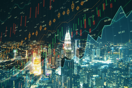 Creative night city background with candlestick forex chart. Economy and analysis concept. 3D Rendering
