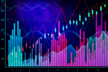 Abstract glowing blurry candlestick forex chart texture with lines. Invest and finance concept. 3D Rendering Standard-Bild - 119370793