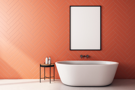 Clean orange bathroom interior with bath tub, sunlight and empty white poster. 3D Rendering Stock Photo
