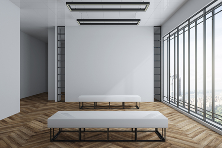 Contemporary exhibition hall interior with empty white poster on concrete wall, wooden floor, city view and daylight. Gallery concept. Mock up, 3D Rendering Stockfoto
