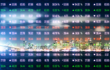 Creative night city background with index forex chart. Stock and finance concept. Double exposure Stock Photo