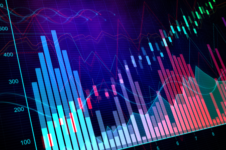 Colorful glowing blurry candlestick forex chart background with lines. Invest and finance concept. 3D Rendering