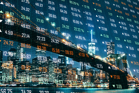 Creative night city background with index forex chart. Stock and trade concept. Double exposure Stock Photo