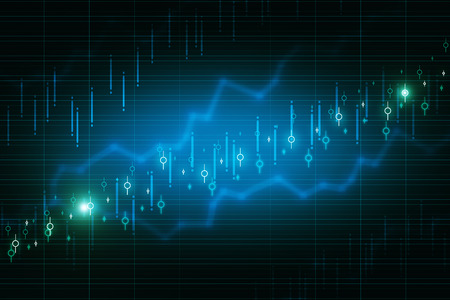 Abstract glowing blurry candlestick forex chart backdrop with lines. Invest and finance concept. 3D Rendering Banco de Imagens
