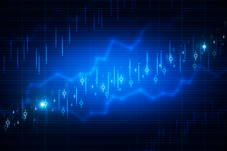 Abstract glowing blurry candlestick forex chart wallpaper with lines. Invest and finance concept. 3D Rendering