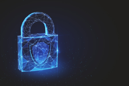 Glowing polygonal padlock on dark background. Protection and web concept. 3D Rendering