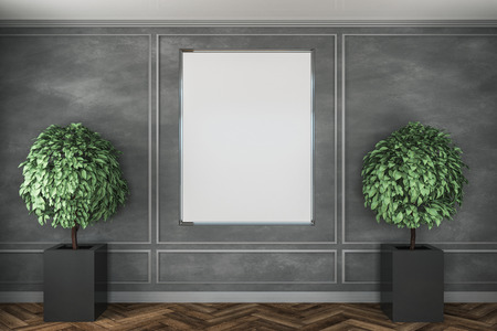 Modern concrete interior with decorative trees, wooden floor and emptu poster on wall. Mock up, 3D Rendering