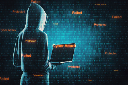 Hacker in hoodie using laptop on abstract cyber background. Virus attack and protection concept. Double exposure Stok Fotoğraf - 119371270