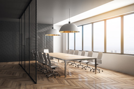 Stylish meeting room interior with city view and daylight. Workplace design concept. 3D Rendering Foto de archivo