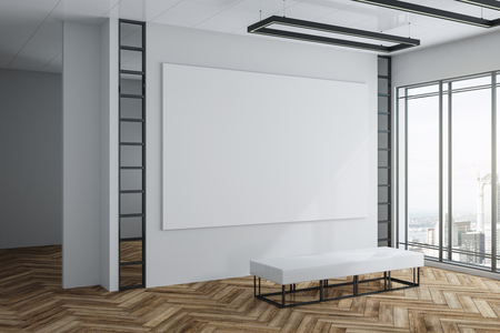 Bright exhibition hall interior with empty white poster on concrete wall, wooden floor, city view and daylight. Gallery concept. Mock up, 3D Rendering Stockfoto