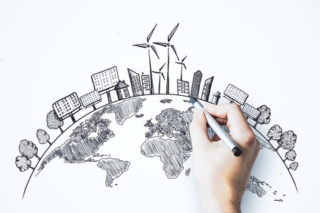 Hand drawing creative eco globe sketch on white background. Eco-friendly and environment concept Stock Photo