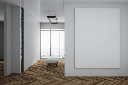Modern exhibition hall interior with empty white poster on concrete wall, wooden floor, city view and daylight. Gallery concept. Mock up, 3D Rendering