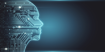 Esquema de cabeza de circuito brillante creativo. Concepto de IA e innovación. Representación 3D